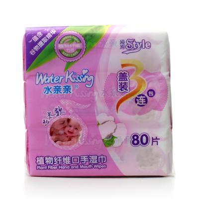 水亲亲植物口手80片(加盖3连包)湿巾