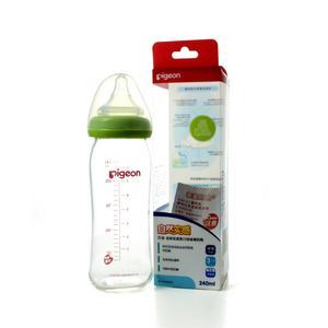 贝亲AA70宽口径玻璃奶瓶240ml(绿色)